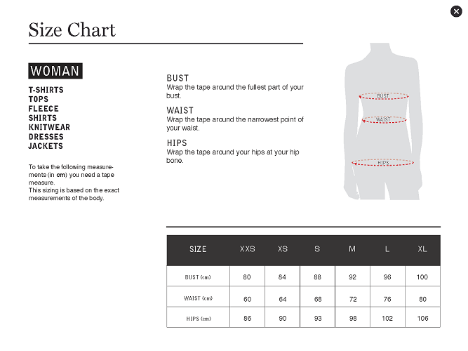 Size Guide Women Top