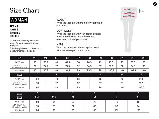 Size Guide Women Bottom