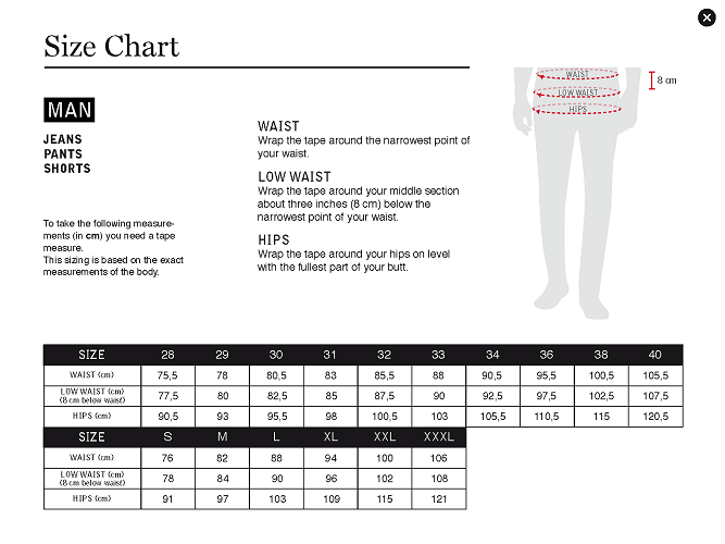 Size Guide Men Bottom