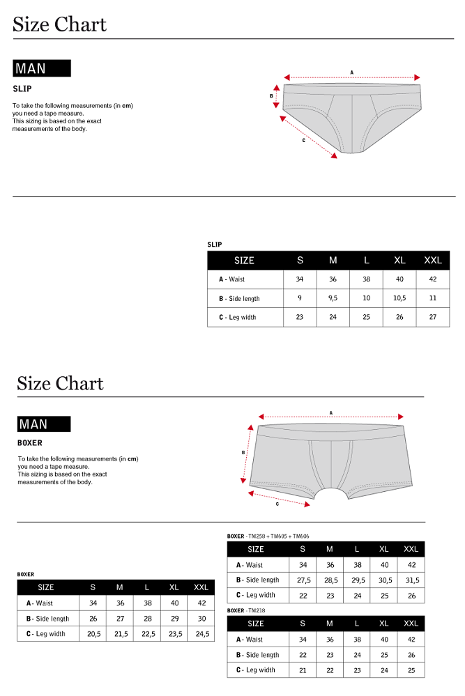 Size Guide Men Underwear