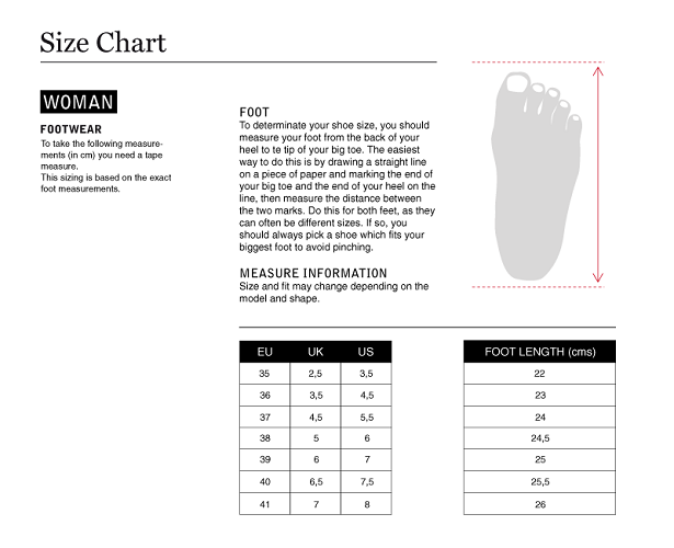 Size Guide Women Footwear